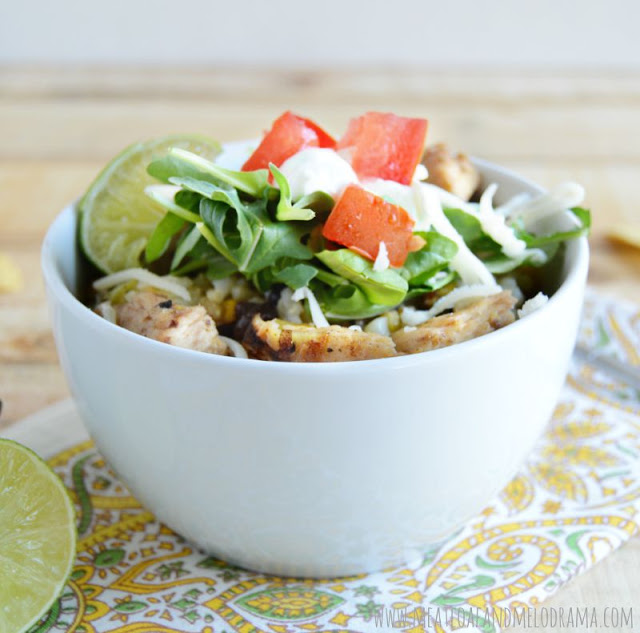 chicken and black bean burritos in a bowl
