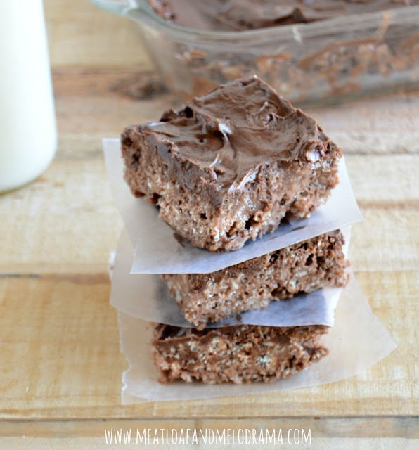 recipe for no bake chocolate peanut butter bars made with chocolate rice krispies and jif whips