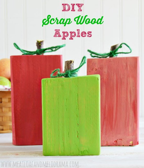 rustic apples made from scrap wood 2x4 pieces