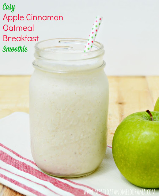 easy apple cinnamon oatmeal breakfast smoothie