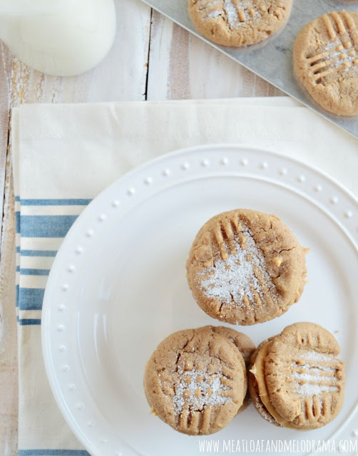 peanut butter cookie sandwiches and milk