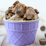 no churn chocolate peanut butter ice cream in purple cup