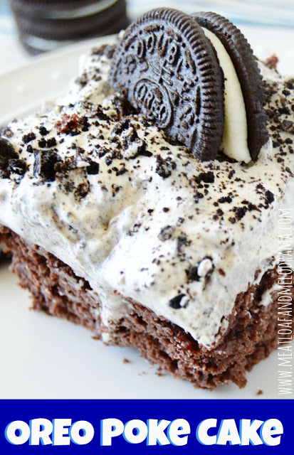 slice of oreo poke cake with vanilla cool whip frosting