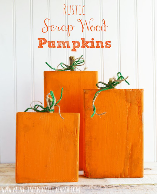 diy pumpkins made from 2x6 wood blocks