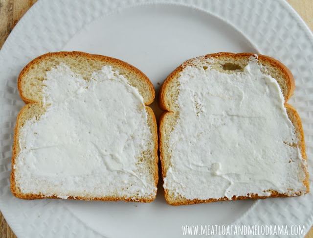 cream cheese on nature's harvest honey wheat bread