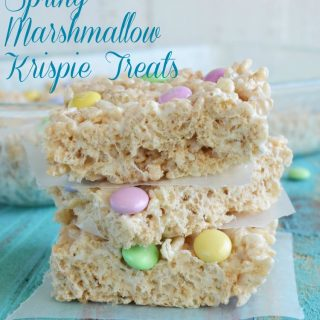rice krispie treats with spring m & m candies
