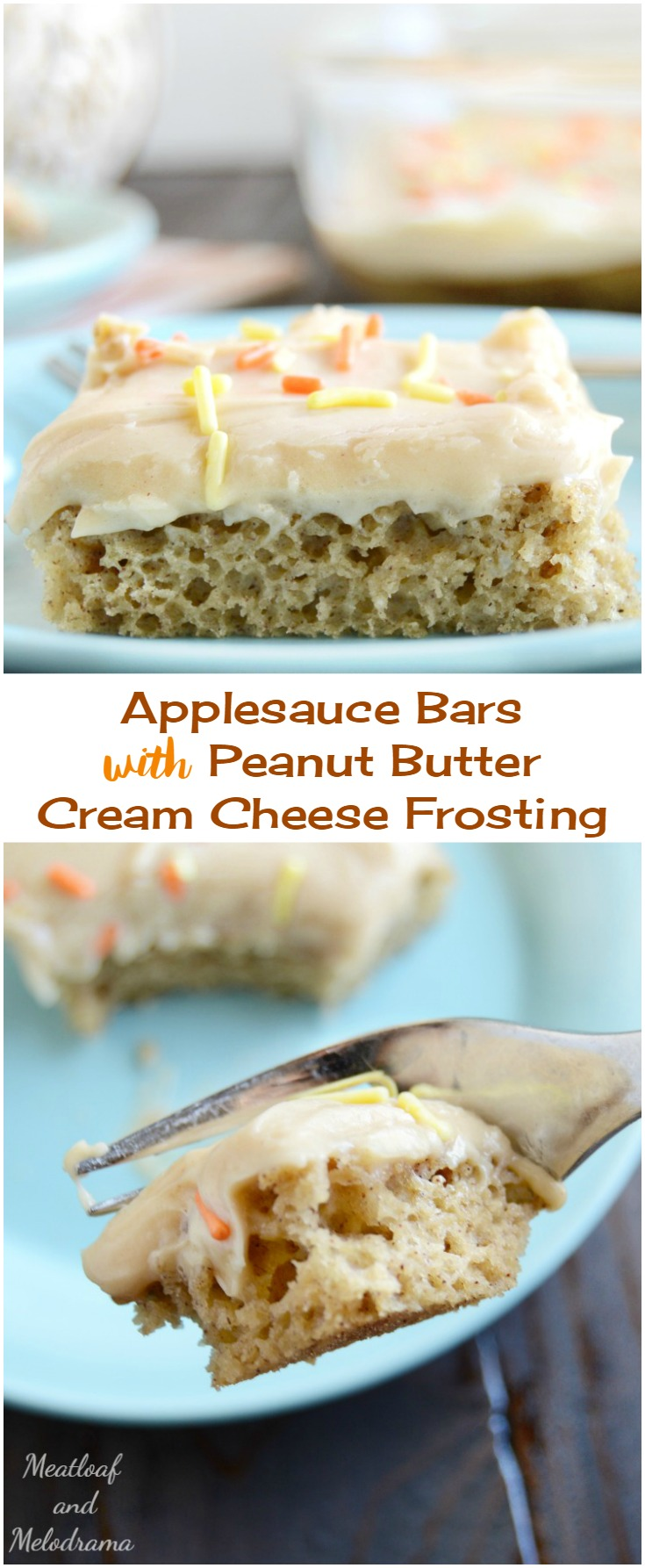Easy Applesauce Bars with Peanute Butter Cream Cheese Frosting