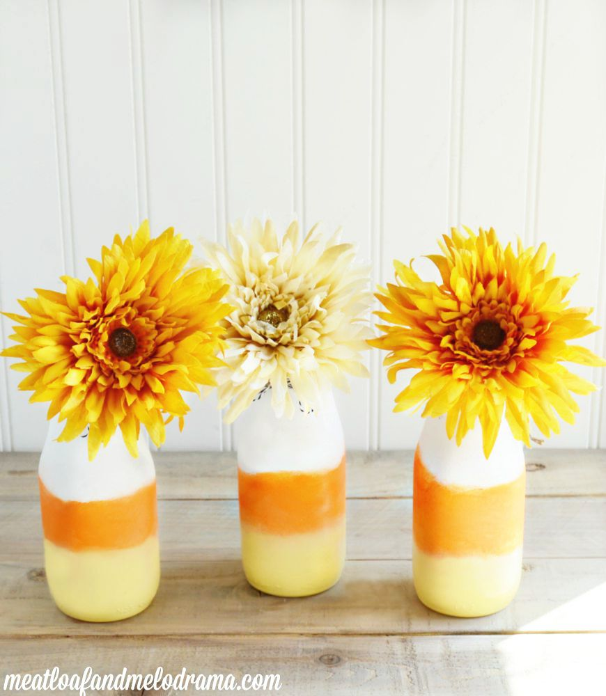 DIY-candy-corn-vases-glass-bottles