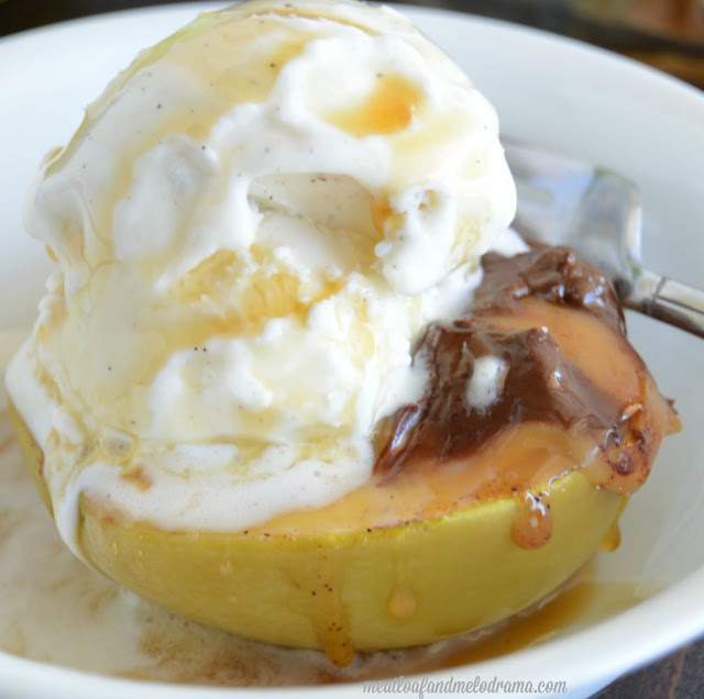 baked caramel apples with chocolate and vanilla ice cream for fall dessert