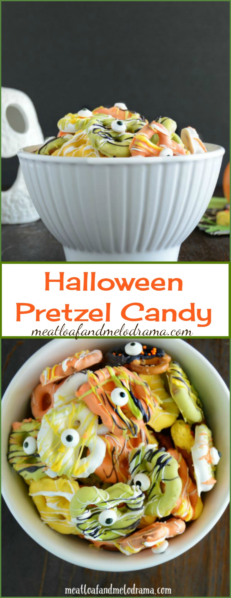 Easy Candy Coated Halloween Pretzels