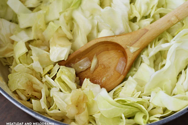 fry cabbage with onions in dutch oven