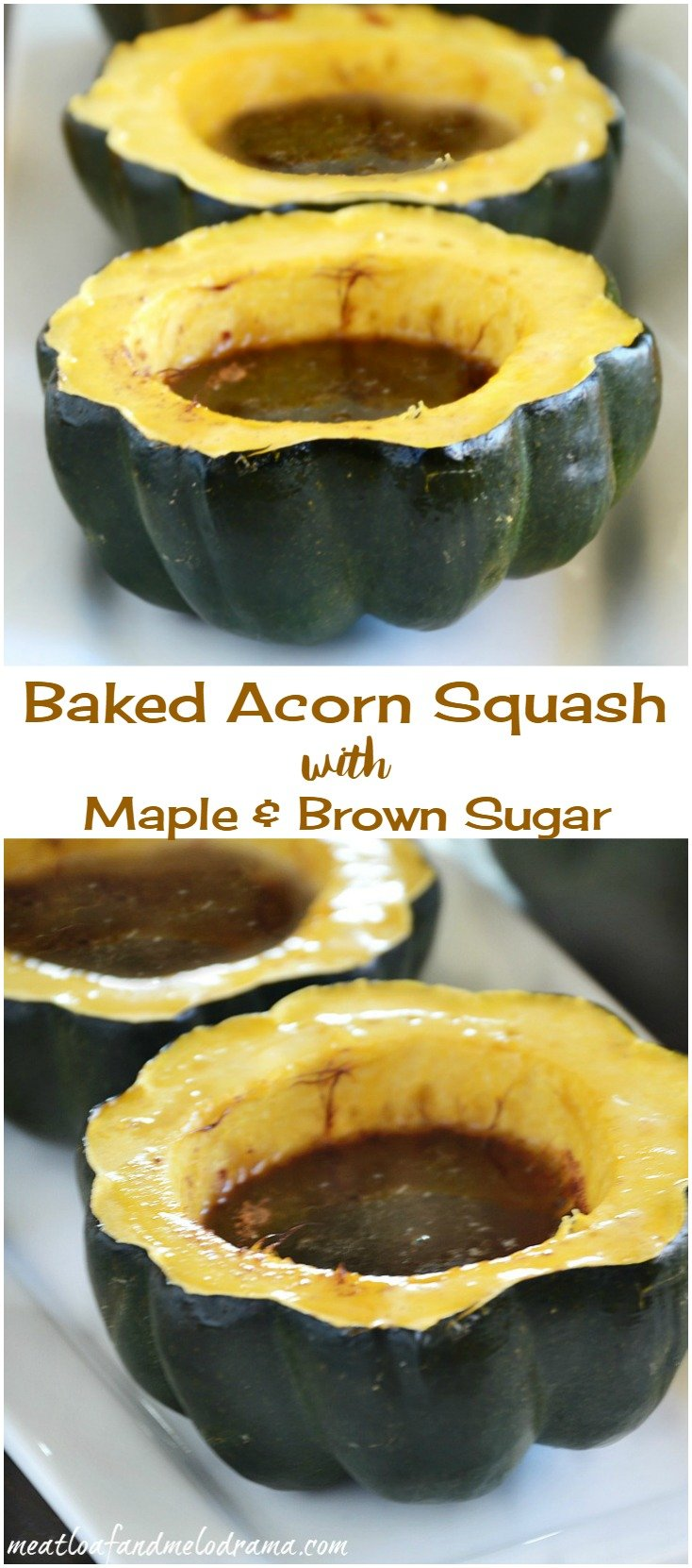 easy Baked Acorn Squash with Maple and Brown Sugar