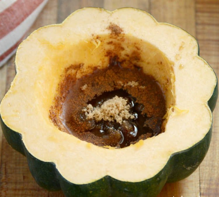 fill acorn squash with butter and brown sugar and maple syrup