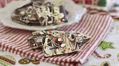 swirled white and chocolate peppermint bark on the table