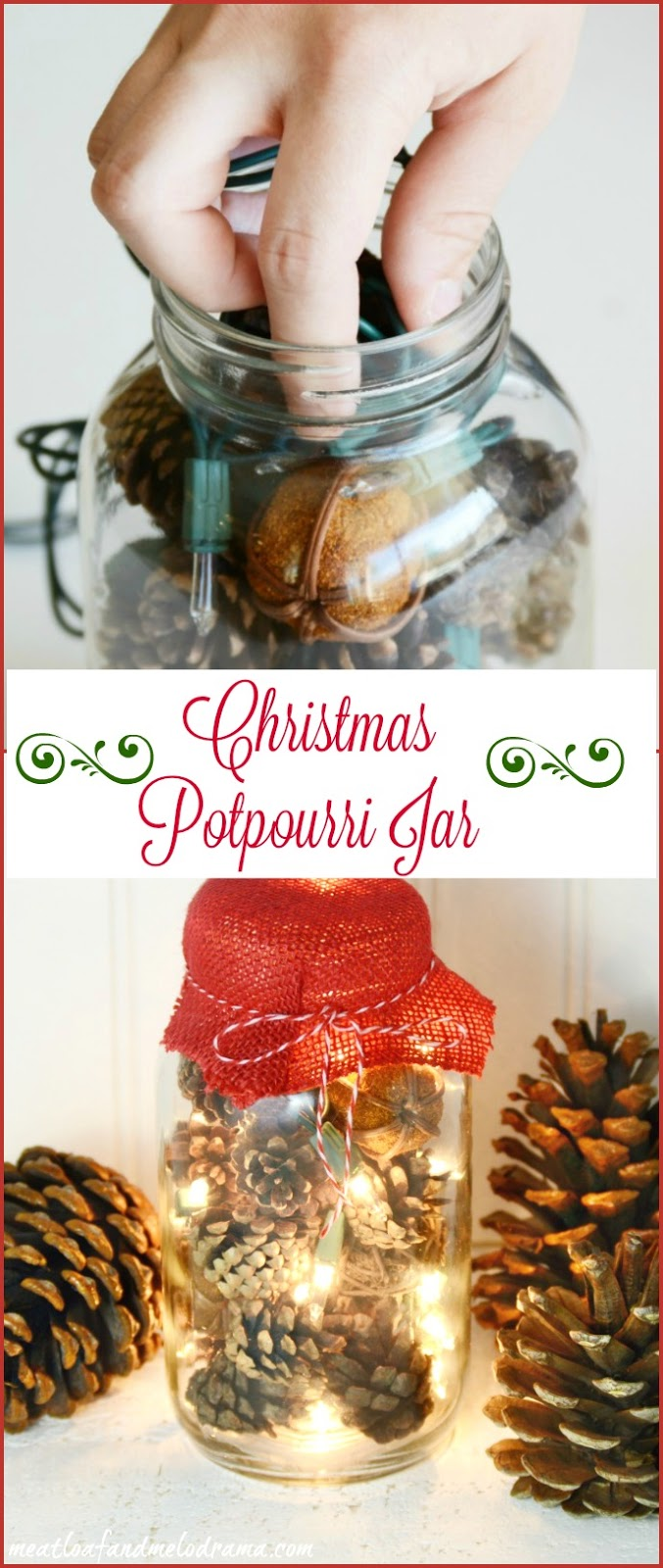 Lighted Christmas Potpourri Jar - Meatloaf and Melodrama