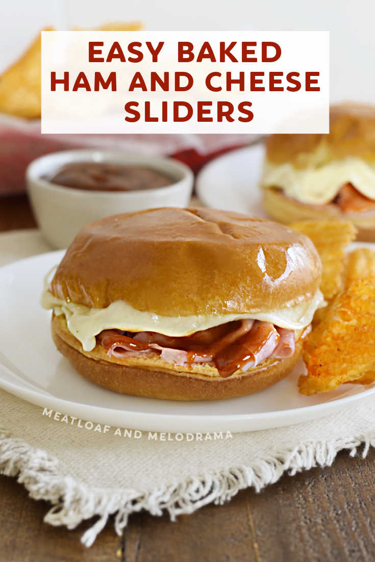 Baked ham and cheese sliders  are topped with melted provolone cheese and tangy BBQ sauce for an easy 15 minute meal or game day snack.