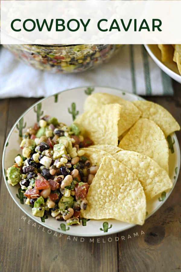 plate with cowboy caviar and tortilla chips