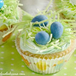 easter cupcakes topped with edible grass and chocolate candy eggs in a nest