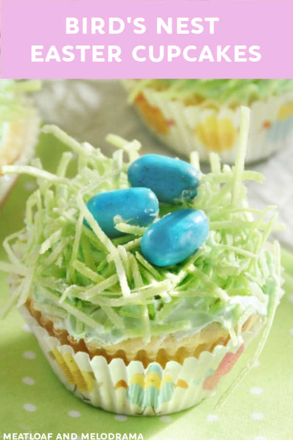 bird's nest easter cupcakes with candy eggs