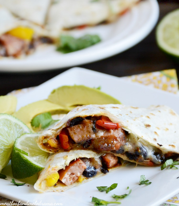 Jalapeno sausage quesadillas are made with spicy sausage, black beans ...