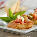Bruschetta with Tomato, Basil and Gorgonzola