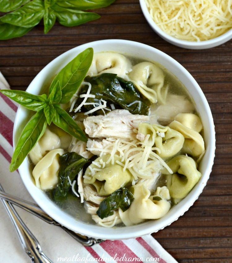 crock pot chicken tortellini soup with spinach