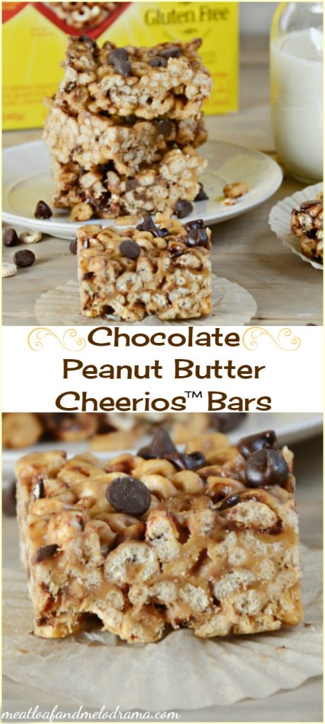 chocolate peanut butter cheerios bars on a plate