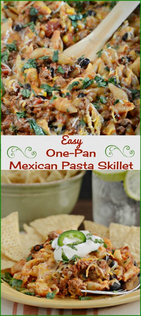 easy one pan Mexican pasta skillet recipe