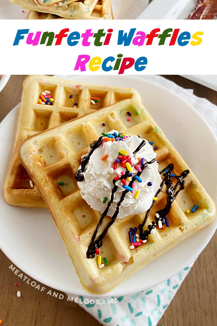 Homemade Funfetti Waffles filled with colorful sprinkles are perfect for birthdays and other celebrations. This easy breakfast recipe makes any day special!