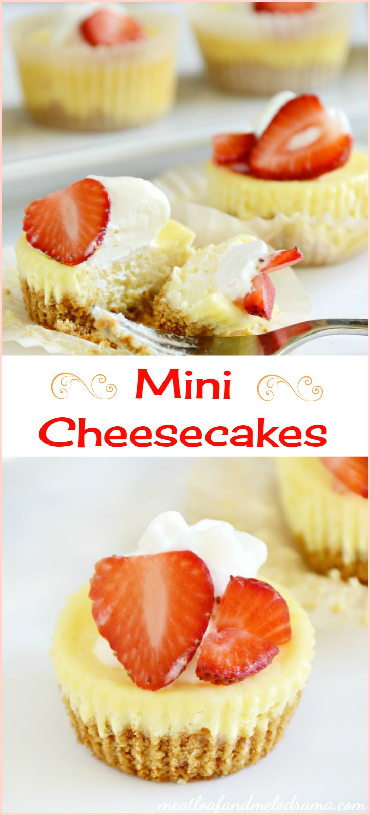 mini cheesecakes with strawberry topping