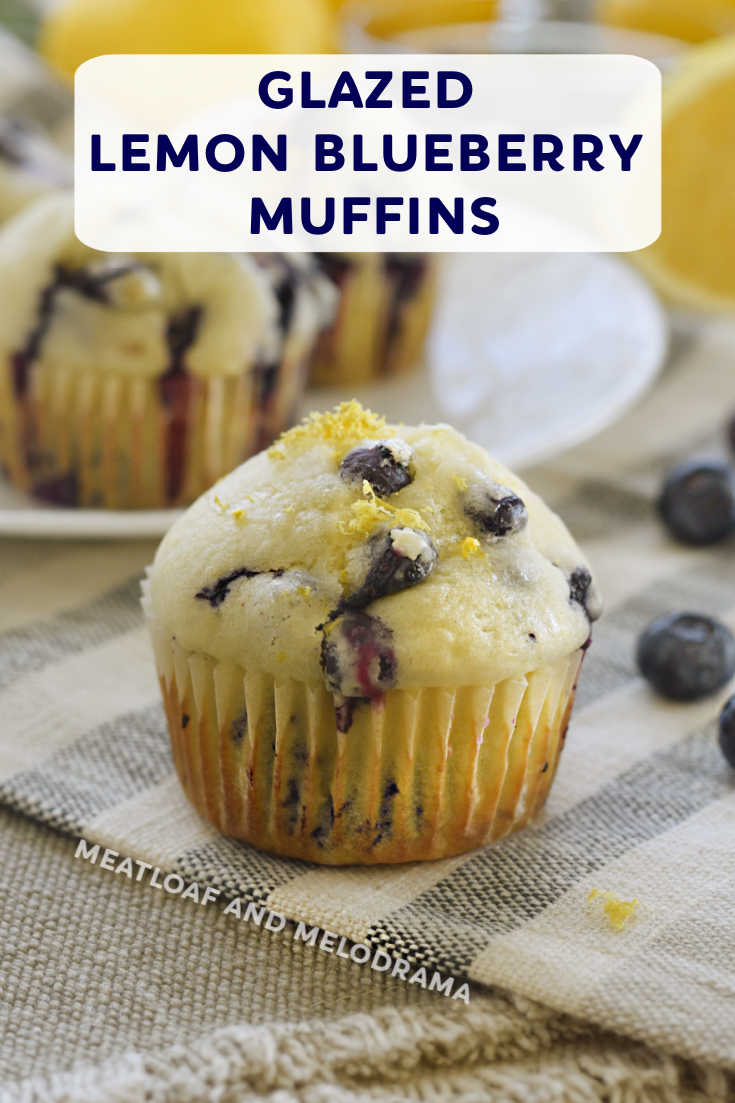 Glazed Lemon Blueberry Muffins bursting with fresh blueberries and topped with a light glaze are moist, fluffy and easy to make. The BEST blueberry muffin recipe ever!