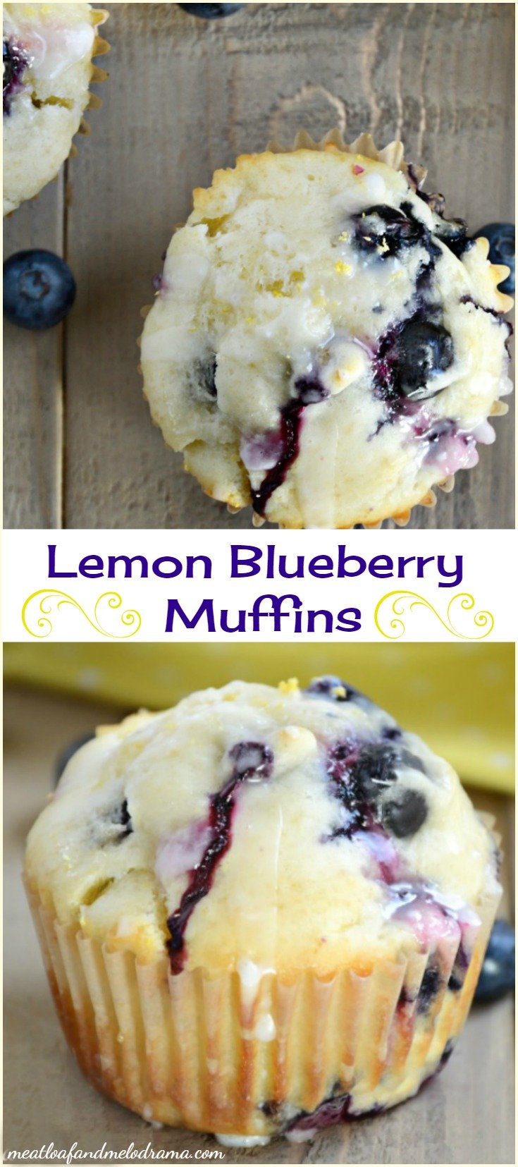 Glazed Lemon Blueberry Muffins Meatloaf And Melodrama
