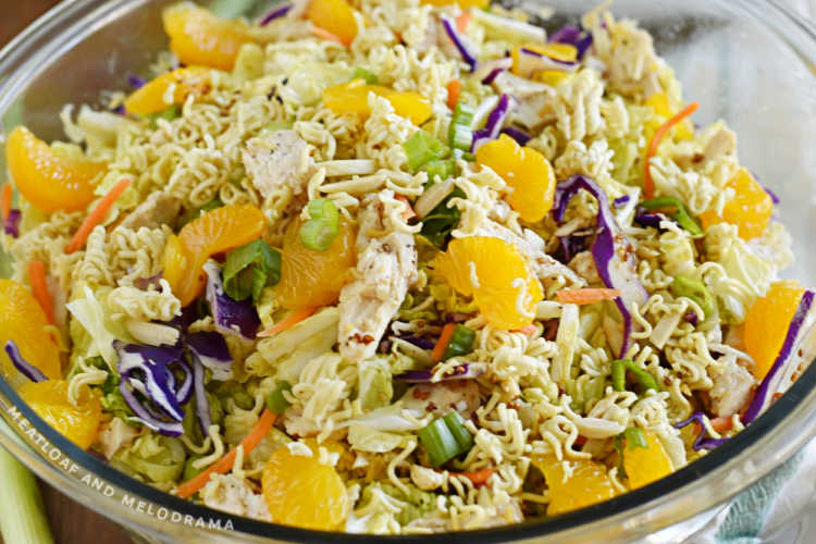 bowl of ramen chicken salad with mandarin oranges and cabbage