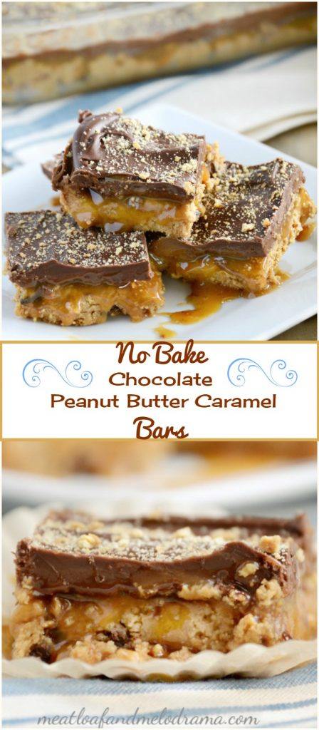 We loved these no bake chocolate peanut butter caramel bars, and I don ...