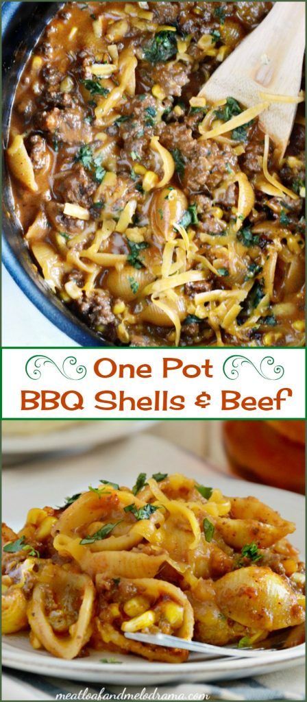 One Pot Cheddar BBQ Shells and Beef