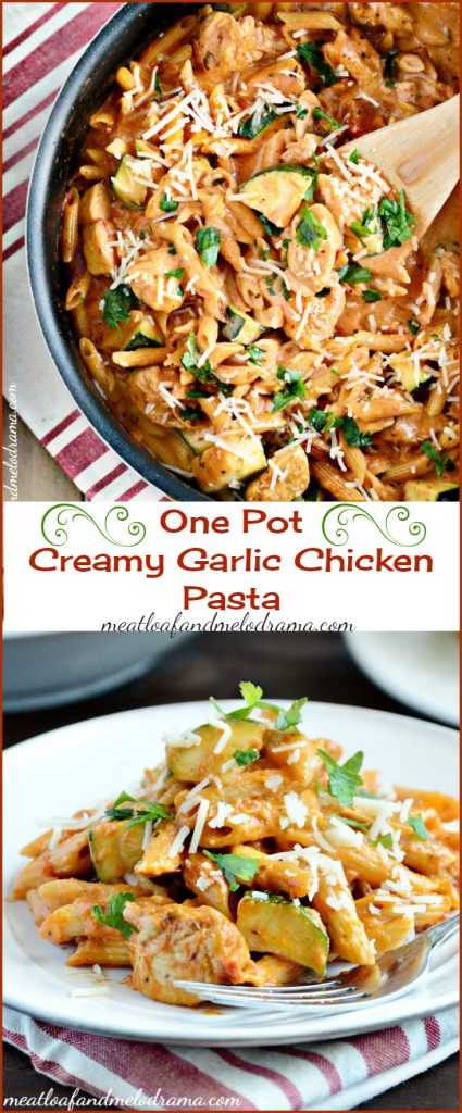 One Pot Creamy Garlic Chicken Pasta