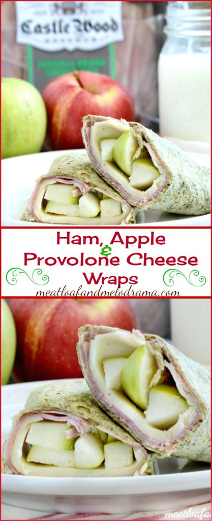 Ham, Apple and Provoloe Cheese Wraps with Creamy Dijon Mustard Spread are perfect for school lunches or snacks