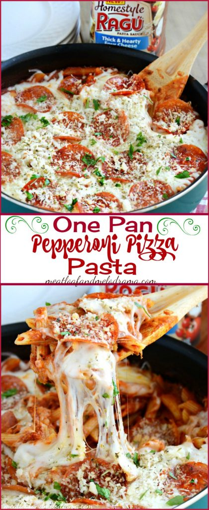 One Pan Pepperoni Pizza Pasta Skillet made with Ragu Homestyle Pasta Sauce