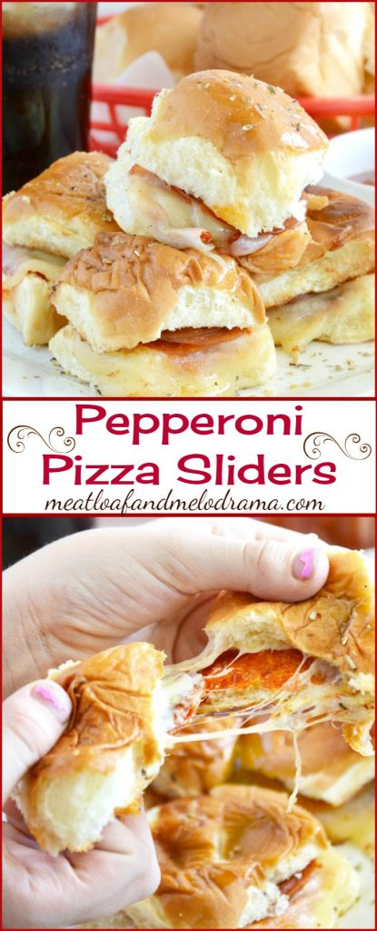 Pepperoni Pizza Sliders with cheese on Hawaiian rolls