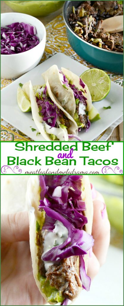Shredded Beef and Bean Tacos