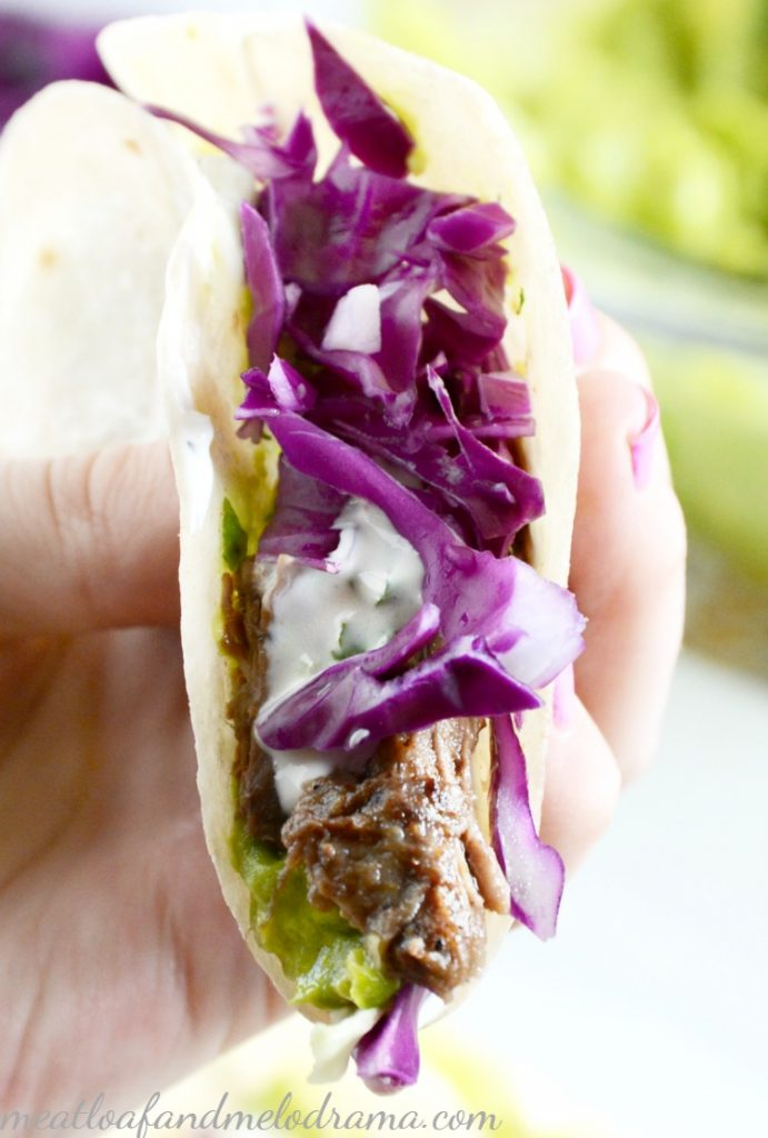 crock-pot-shredded-beef-black-bean-tacos-purple-cabbage-guacamole