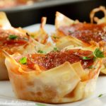 Pepperoni Pizza Dip Wonton Cups
