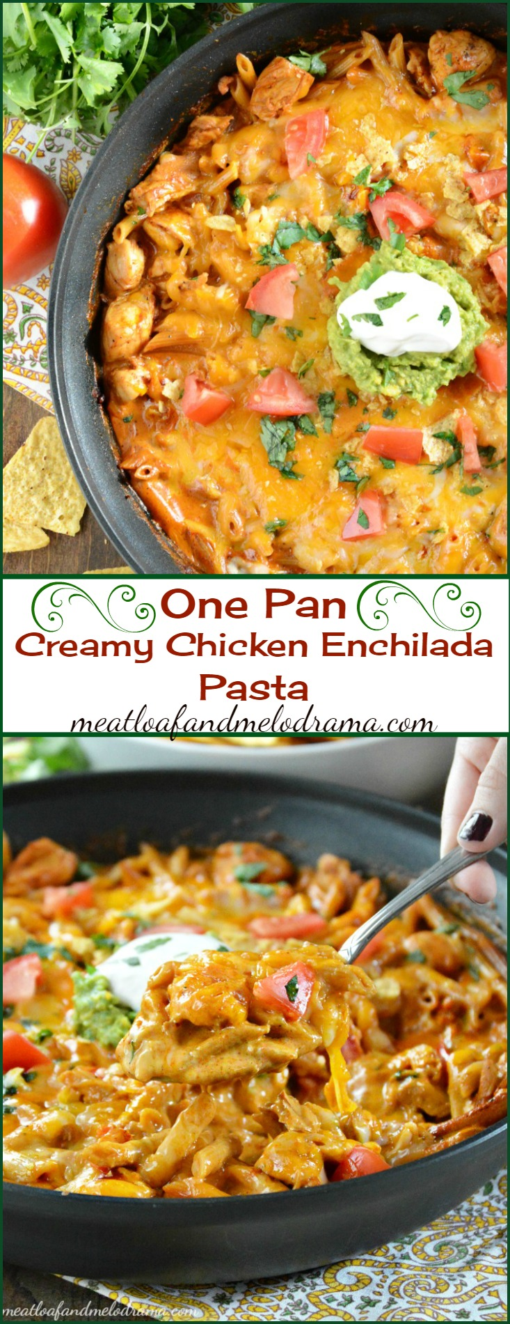 One Pan Creamy Chicken Enchilada Pasta