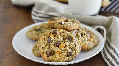 oatmeal butterscotch chocolate chip cookies on a plate