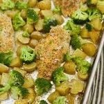 baked sheet pan honey mustard chicken and potatoes with broccoli