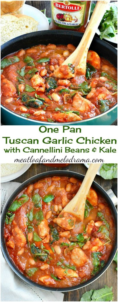Easy One Pan Tuscan Garlic Chicken with Cannellini Beans and Kale