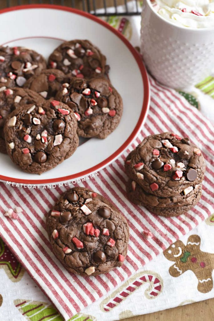 plate of chocolate cake mix cookies with peppermint chips