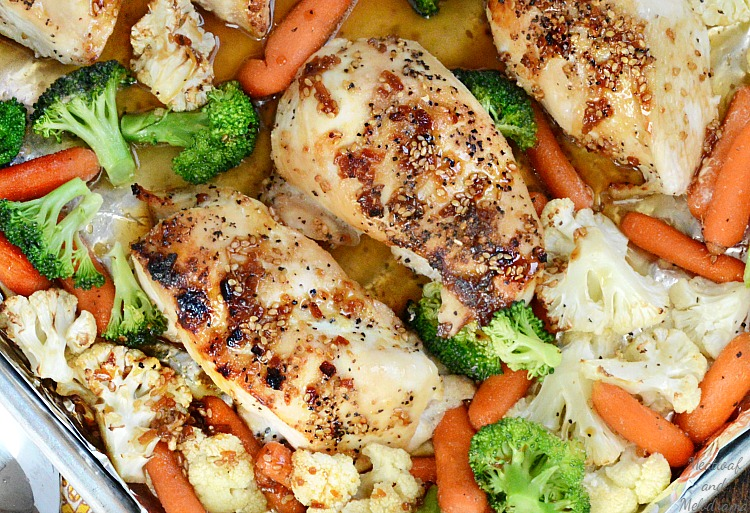 one-sheet-pan-honey-teryiaki-chicken-broccoli-carrots-cauliflower-meatloaf-and-melodrama