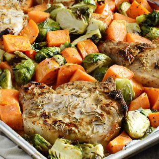 sheet-pan-maple-dijon-pork-chops-brussel-sprouts-sweet-potatoes