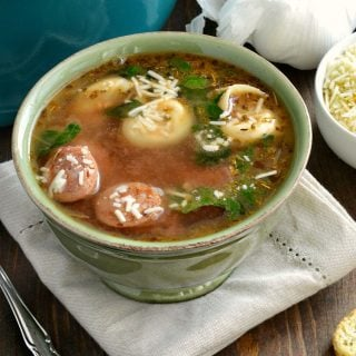 Spicy Andouille Sausage Tortellini Soup